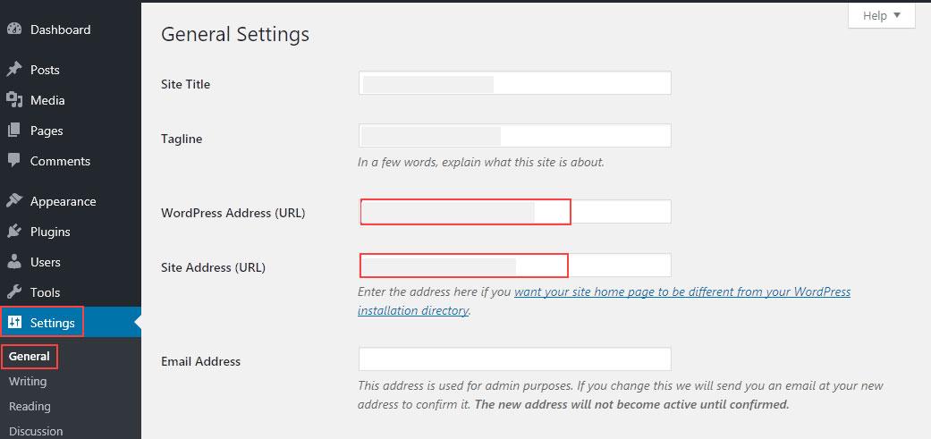 تغییر آدرس سایت