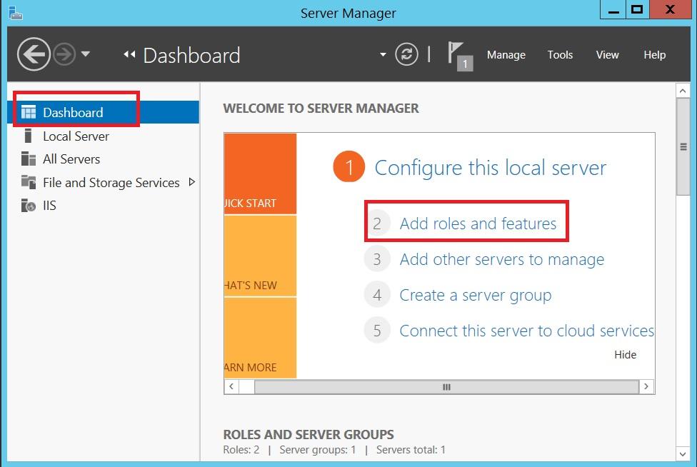 محل Role های سرور 2012R2 در Server manager