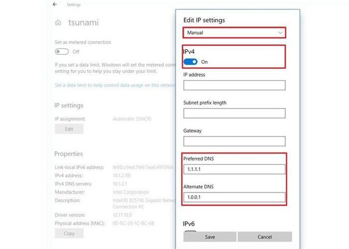 کلید Ipv4 toggle را فعال کنید