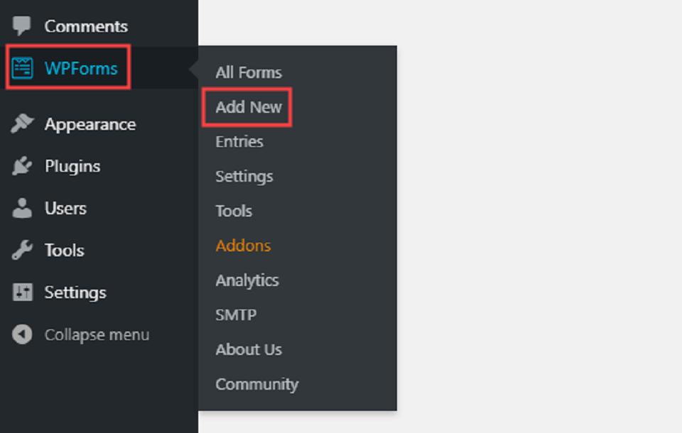 فرم آپلود فایل در وردپرس، صفحه جدید در addon