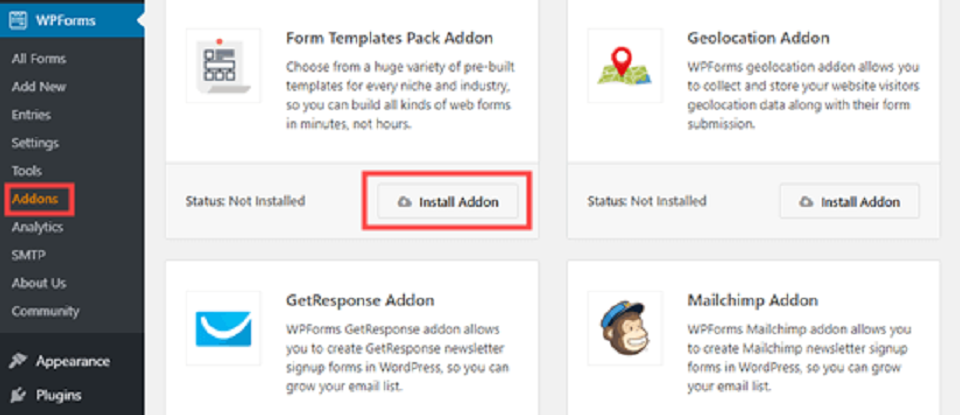 فرم آپلود فایل در وردپرس ،نصب addons