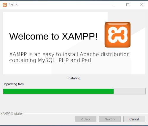 xampp در حال نصب