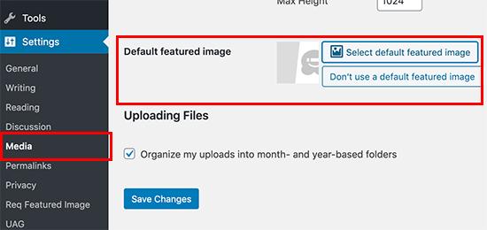 نحوه تنظیم تصویر شاخص پیش فرض در وردپرس
