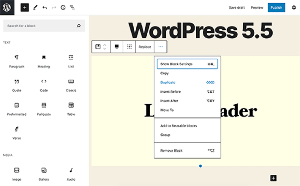 وردپرس 5.5 : ویژگی های block editor