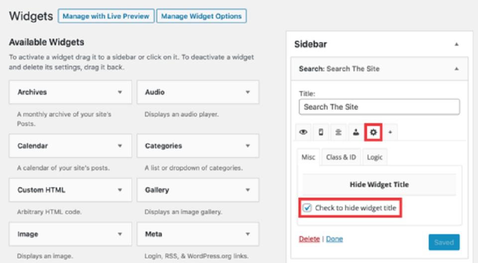 مخفی کردن عنوان عناصر در وردپرس : گزینه های مخفی کردن ویجت