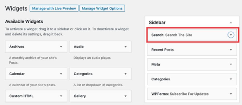 مخفی کردن عنوان عناصر در وردپرس : حذف عنوان Search the site