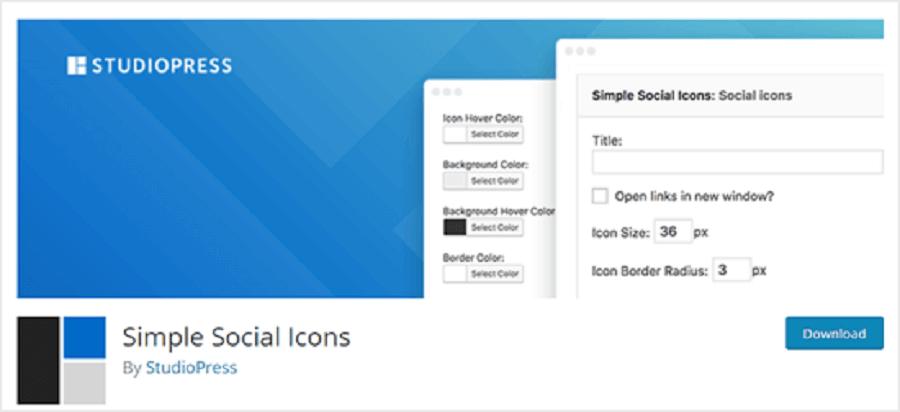 7 مورد از بهترین افزونه های اینستاگرام در وردپرس : Simple Social Icons