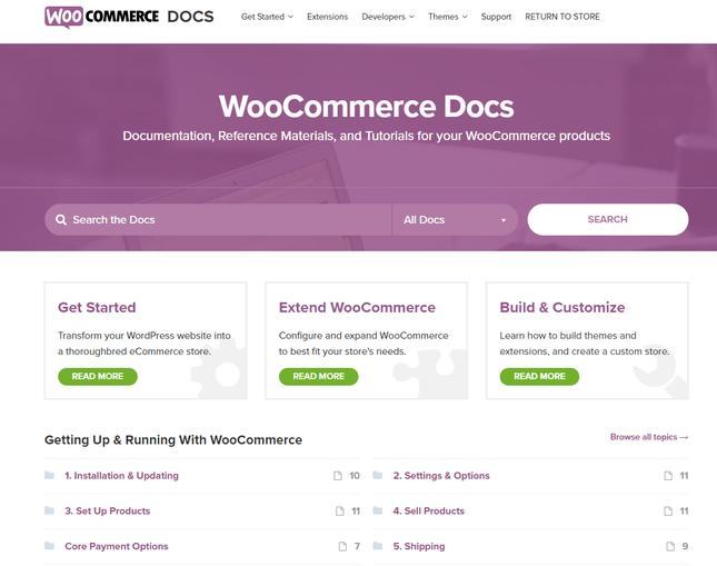 صفحه اسناد ووکامرس برای راهنمایی مشتریان