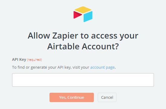وارد کردن API Airtable