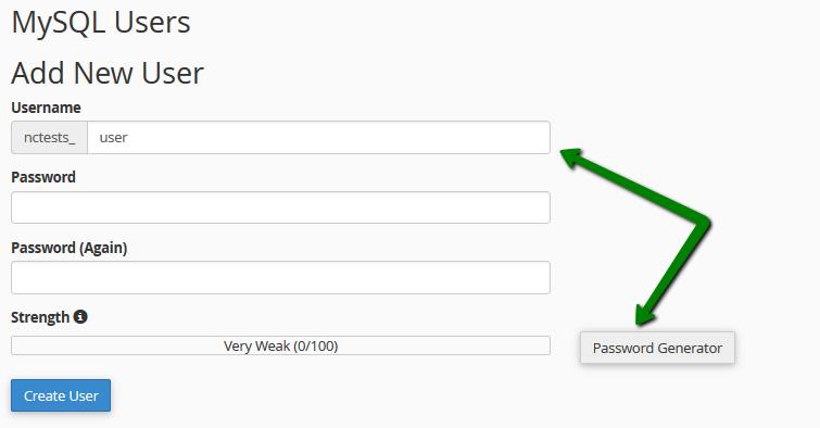 ایجاد MySQL User