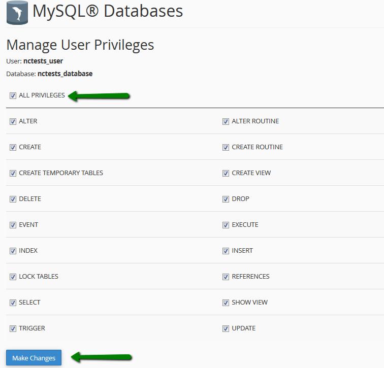 امتیازات MySQL User