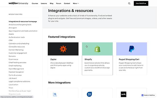 افزونه ها و ادغام ها در Webflow