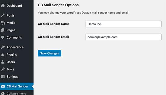 صفحه تنظیمات پلاگین CB Change Mail Sender