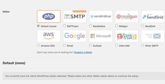 هاست های موجود برای تنظیم سرور SMTP