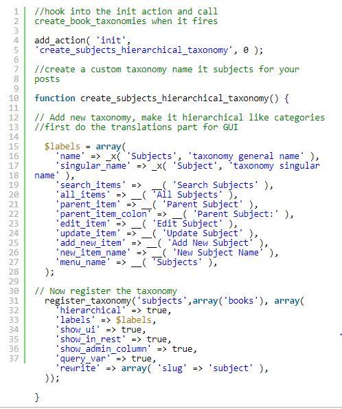 کد های ایجاد طبقه بندی در وردپرس