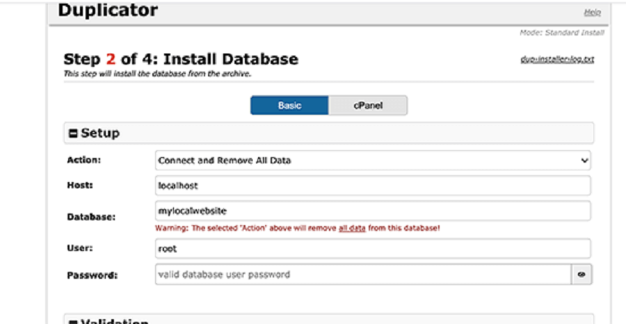ورود اطلاعاتی ماننده نام سرور برای duplicator