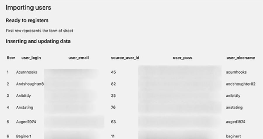 نمایش لیستی از کاربران برای درون ریزی