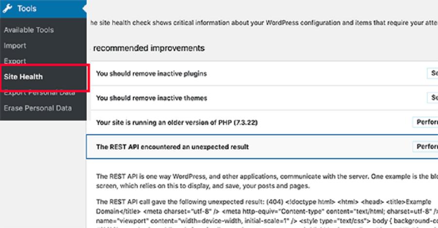 نمایش پیام The REST API encountered an unexpected result