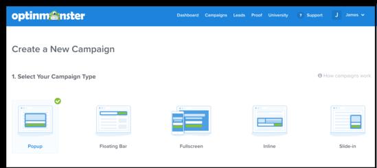 انتخاب نوع کمپین با OptinMonster