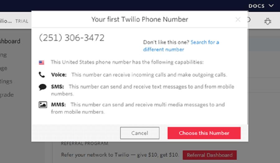 ورود شماره تلفن به حساب twilio