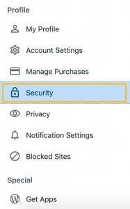 """کلیک روی گزینه """"security"""""""