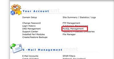 انتخاب گزینه Mysql Management برای ایجاد پایگاه داده برای نصب پرستاشاپ