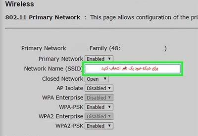 انتخابنام مناسب برای شبکه  برای  پیکربندی آن