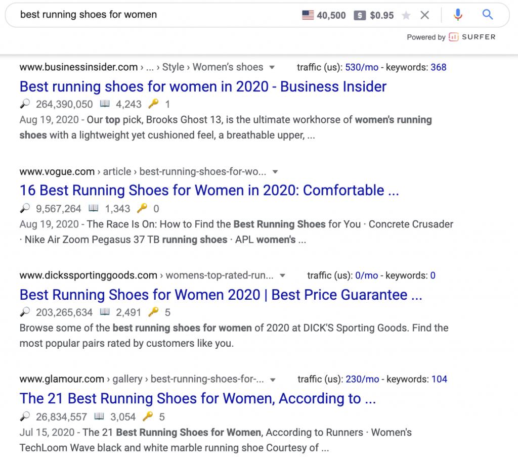 """نمونه سرچ گوگل برای """"بهترین کفش دویدن"""""""
