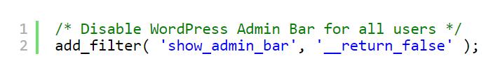 کد برای غیرفعال کردن نوار ادمین برای همه کاربران