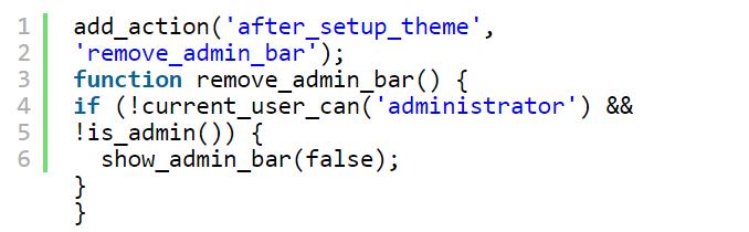 کد برای غیرفعال کردن نوار ادمین