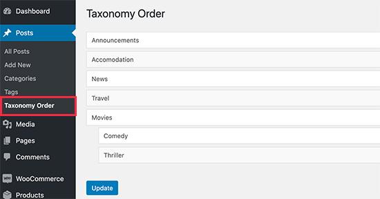 پلاگین Taxonomy Order
