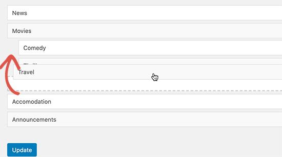 تغیر ترتیب دسته ها