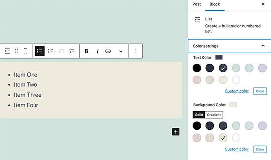 پشتیبانی از رنگ برای بلاک لیست ها در وردپرس 5.6