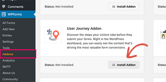 نصب User Joruney Addon روی WPForms