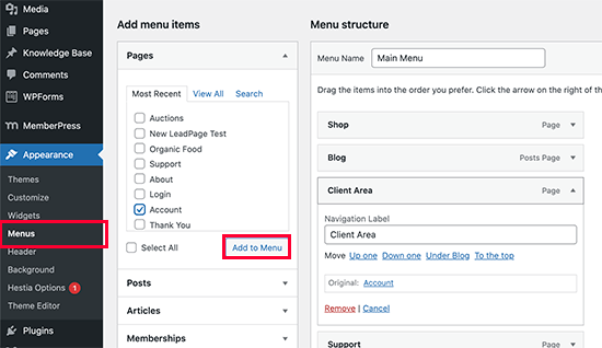 افزودن لینک به منطقه مشتری با استفاده از MemberPress