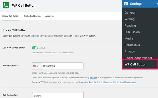 فعالسازی WP Call Button