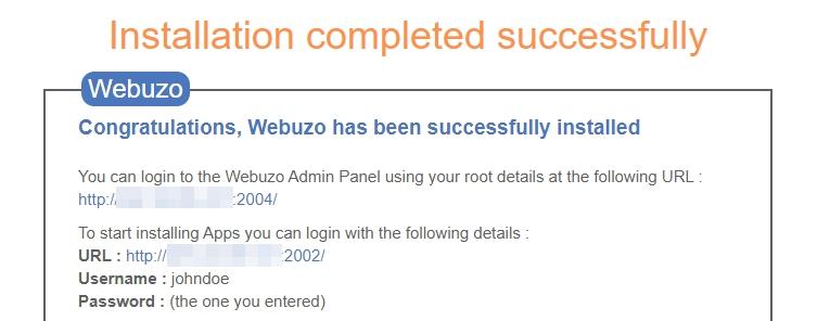اطلاعاتی که Webuzo در اختیار شما قرار می دهد