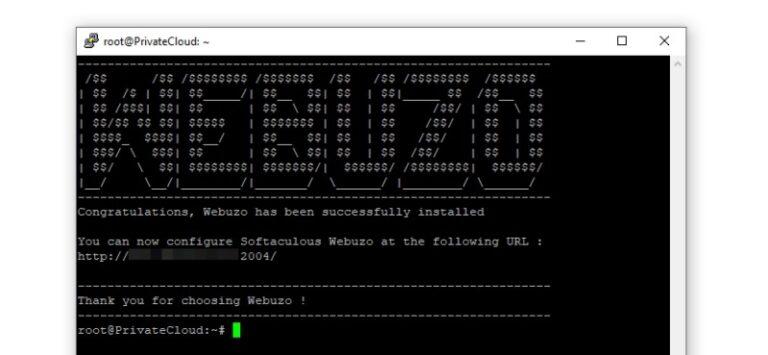 تکمیل فرآیند نصب Webuzo