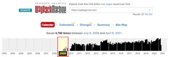 تنظیمات Wayback Machine