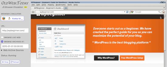 مشاهده نمونه ای از یک وبسایت در Oldweb.today