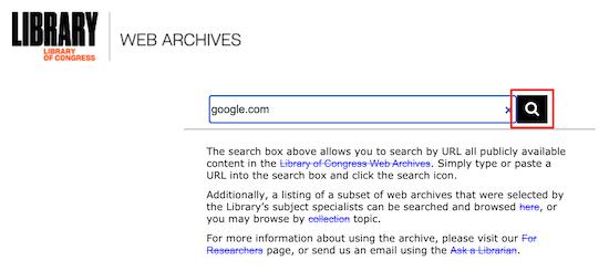 استفاده از ابزار Library of Congress Web Archive