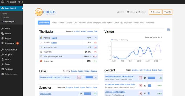 افزونه مدیریت ترافیک سایت clicky analytics