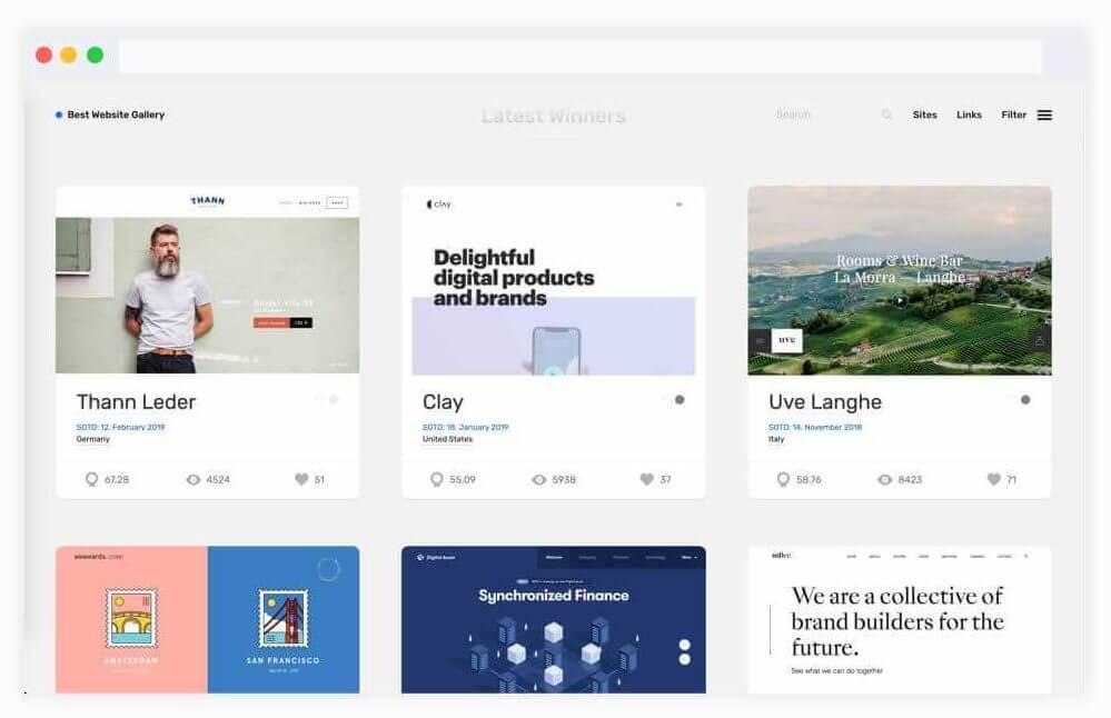 سایت ایده رابط کاربری Best Website Gallery