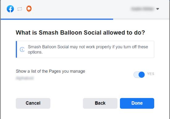 تنظیم دسترسی Smash Balloon به صفحات فیسبوک شما
