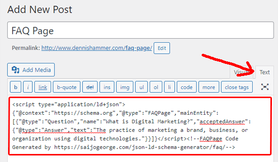 گذاشتن کد بلوک FAQ در پست سایت