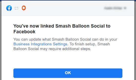 پیام تأیید اتصال فیس بوک به Smash Balloon