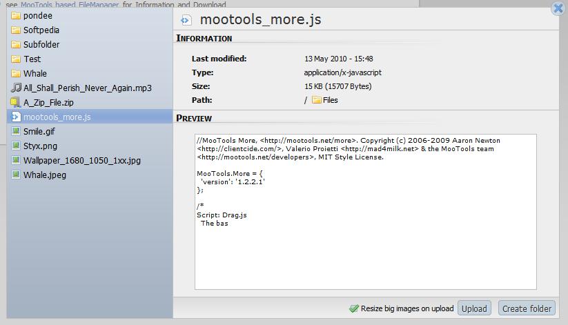 فایل منیجر وب MooTools