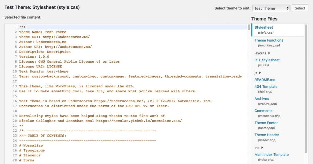 فایل css برای طراحی قالب وردپرس